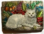 CAT IN GARDEN Belt Buckle + display stand. Product code BM1